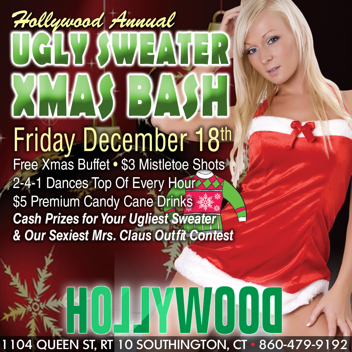 Ugly Sweater XMAS Bash | Hollywood Strip Club Connecticut