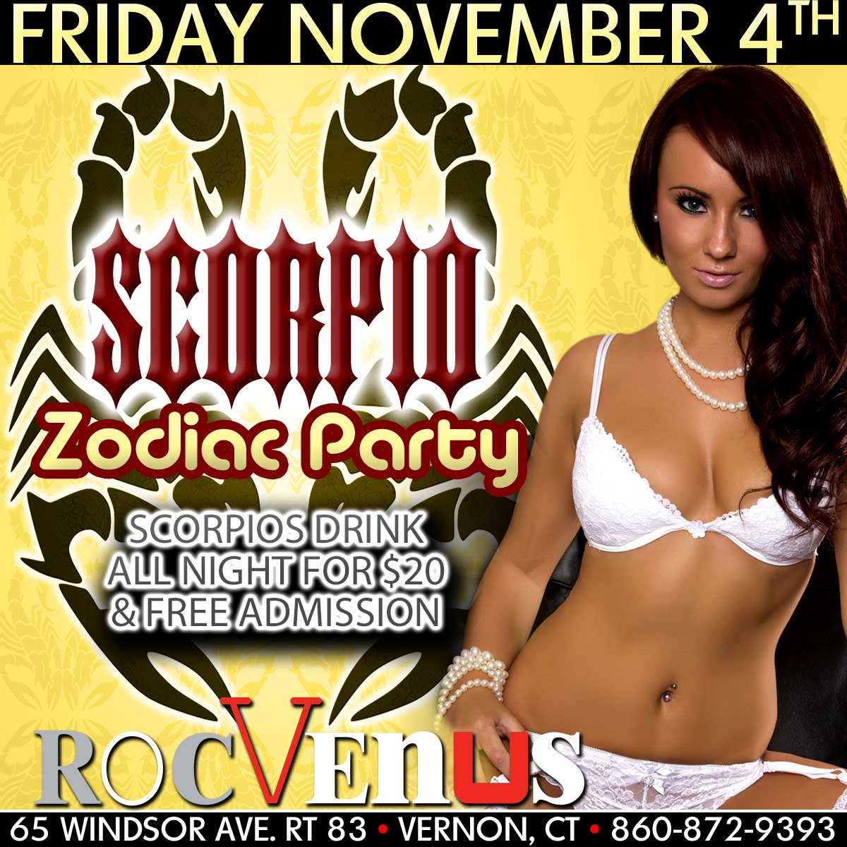 Scorpio Zodiac Party | RocVenus Strip Club Connecticut
